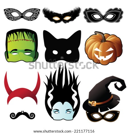 Halloween mask collection  - stock photo
