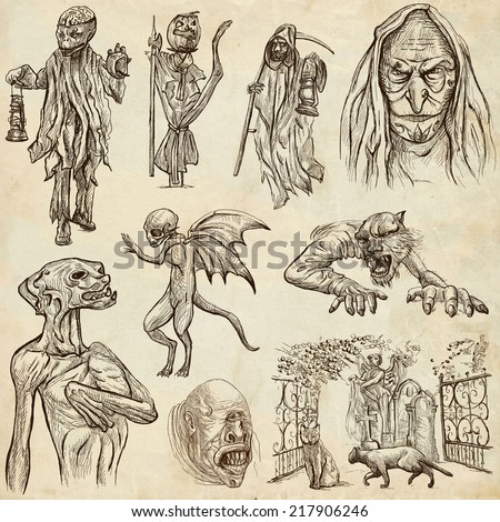 Halloween (Monsters, Magic and Fairy Tales) - Collection (no.7) of an hand drawn illustrations. Full sized hand drawn illustrations drawing on old paper. - stock photo