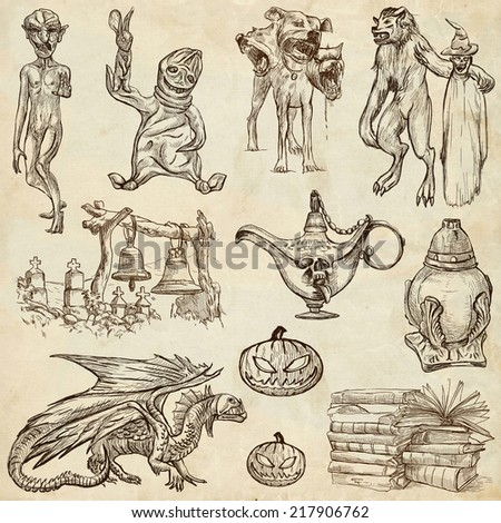 Halloween (Monsters, Magic and Fairy Tales) - Collection (no.5) of an hand drawn illustrations. Full sized hand drawn illustrations drawing on old paper. - stock photo