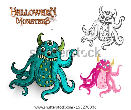 Halloween monsters spooky creatures set.  - stock photo