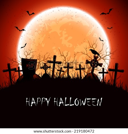 Halloween night at the cemetery with full Moon, illustration. - stock photo