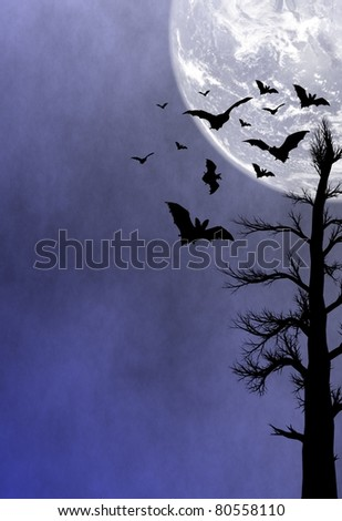 Halloween night background - stock photo