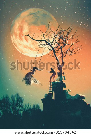 Halloween night background with man pushing woman on swing,illustration painting - stock photo