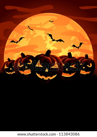 Halloween night background with pumpkins, illustration - stock photo