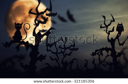 Halloween. night background with scary tree, bats and pumpkins - stock photo