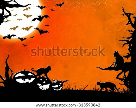 Halloween night illustration background with dead trees, bats, cats and pumpkins - stock photo