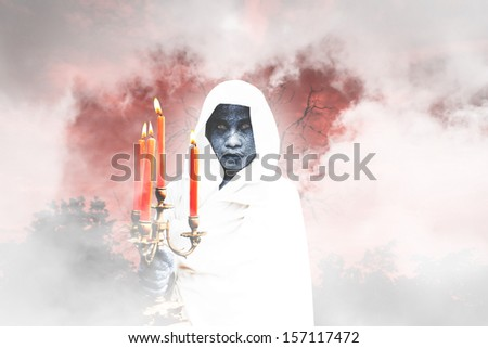 Halloween Night, Scene For Halloween And Fiction Background - stock photo