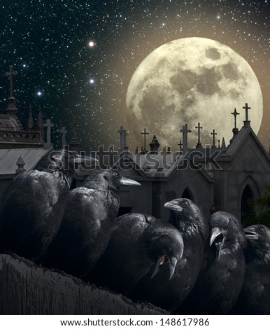 Halloween night with crows, old European Cemetery with lot of crosses, full moon and stars.