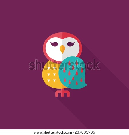 halloween owl flat icon with long shadow