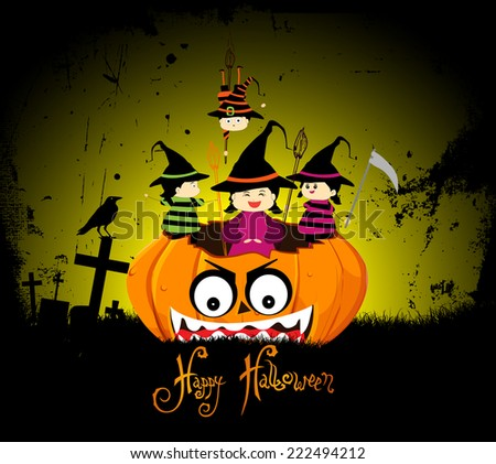 Halloween party children wearing costume - stock photo
