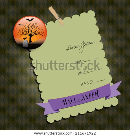Halloween Party invitation. Green note,with graveyard. Raster illustration. - stock photo