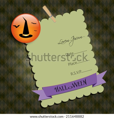 Halloween Party invitation. Green note,with witch hat. Raster illustration. - stock photo