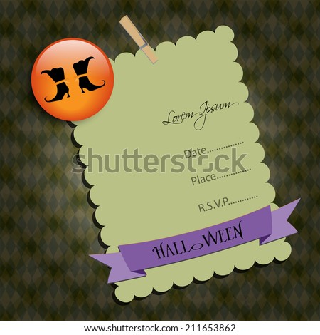 Halloween Party invitation. Green note,with witch shoes. Raster illustration. - stock photo
