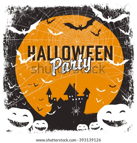 Halloween party invitation with isolated borders. Raster version - stock photo