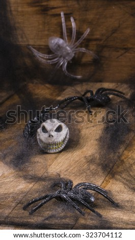 Halloween party toys with pumpkin and spiders. - stock photo