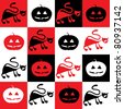 halloween pattern with black cats and pumpkins - stock photo