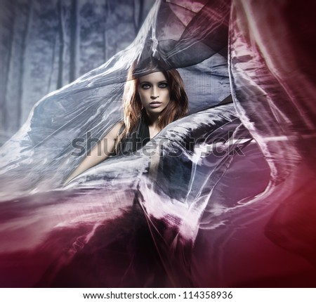 Halloween photo of young attractive female vampire - stock photo