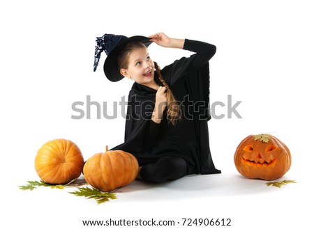 Halloween. portrait of a little girl in the witch costume. White background. Pumpkin  sc 1 st  Shutterstock & Halloween Portrait Little Girl Witch Costume Stock Photo (Royalty ...