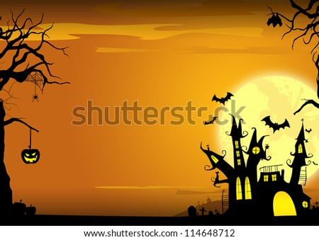 Halloween poster: haunted castle, pumpkin and bats background with space - stock photo