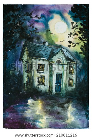 Halloween poster with haunted house. Watercolor.  - stock photo