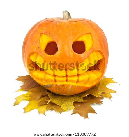 Halloween pumpkin and leaf isolated on a white background - stock photo