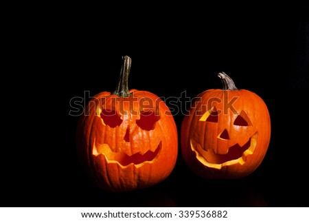 Halloween pumpkin carved. - stock photo