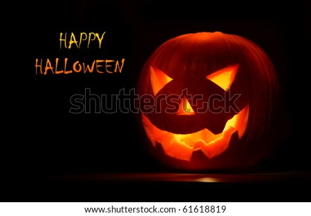 Halloween pumpkin, creepy holiday background - stock photo