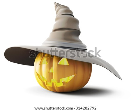 Halloween pumpkin glowing in a hat on a white background. 3d rendering. - stock photo