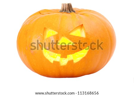Halloween pumpkin head lantern isolated on white - stock photo