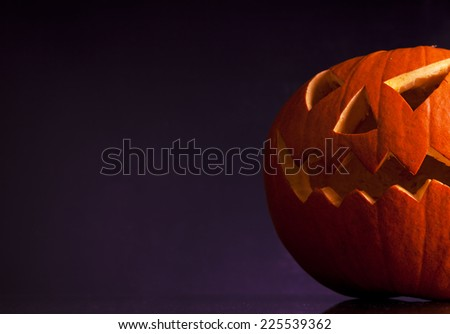 Halloween pumpkin head scary face  - stock photo