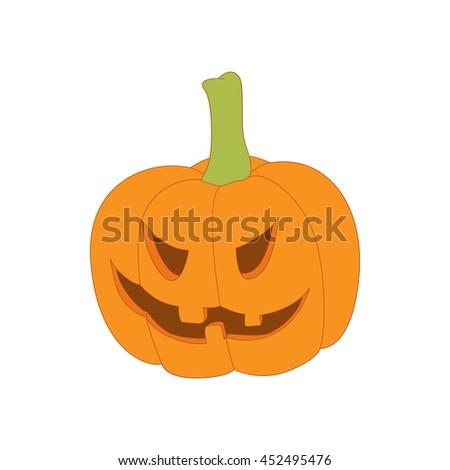 Halloween pumpkin icon in cartoon style on a white background - stock photo