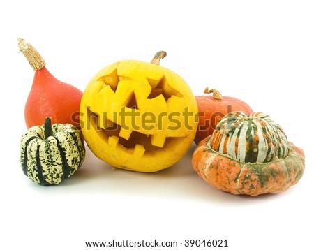 halloween pumpkin in set - stock photo