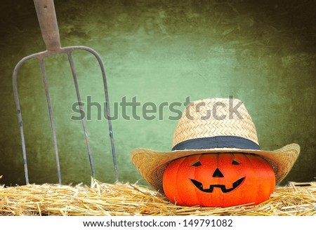 Halloween pumpkin in the farm with green background. - stock photo