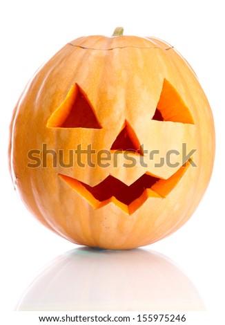 halloween pumpkin, isolated on white - stock photo