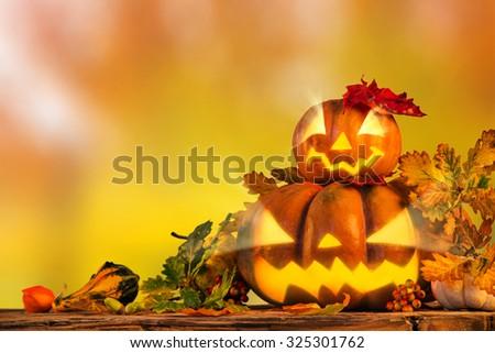 Halloween pumpkin, jack-o-lantern, close up. - stock photo