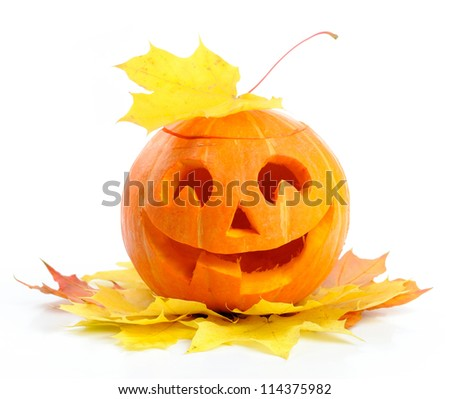 Halloween pumpkin Jack O'Lantern isolated on white