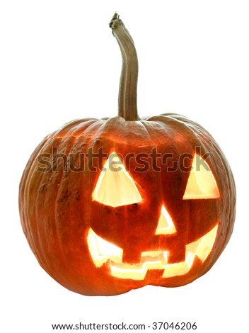 Halloween pumpkin Jack-O-Lantern on a white background - stock photo