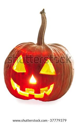 Halloween pumpkin Jack-O-Lantern on a white background - stock photo