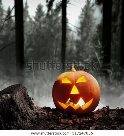 Halloween pumpkin (jack-o-lantern) on dark background - stock photo