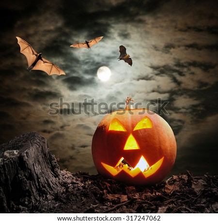 Halloween pumpkin (jack-o-lantern) on dark background - stock photo