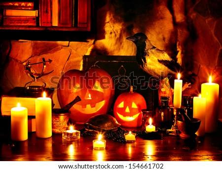 Halloween pumpkin lantern. No people. - stock photo