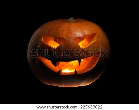 Halloween Pumpkin light top, bottom and left - stock photo