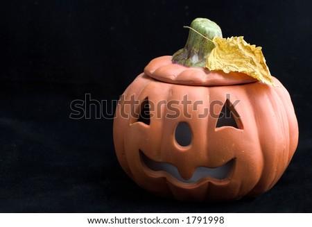 halloween pumpkin  on black - stock photo