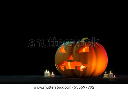 Halloween pumpkin on dark background 3d rendering.
