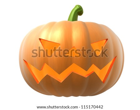 halloween pumpkin on white background, 3d image with work-path