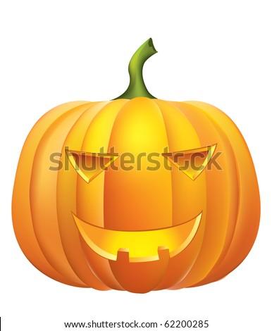 Halloween pumpkin on white.  Rasterized vector - stock photo