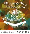 Halloween pumpkin over abstract background, retro style - stock photo