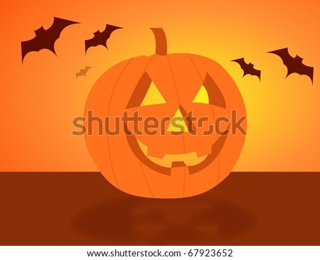 Halloween pumpkin over an yellow and orange background. - stock photo