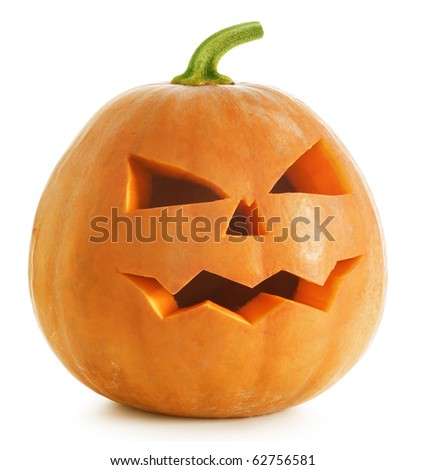 Halloween Pumpkin.Scary Jack O'Lantern isolated on white