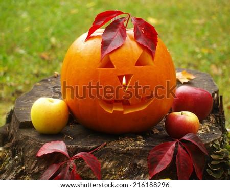 halloween pumpkin torchbearer - stock photo